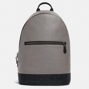 COACH West Slim Backpack Grey Signature Leather